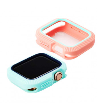 Budesi for Apple Watch Series 4 Case Cover Protector,2018 New iWatch Overall Soft Silicone All Around Protective Case Cover Replacement for Apple Watch Series 4 (40mm) 2 Pack