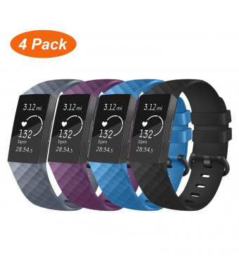 VODKE Compatible with Fitbit Charge 3 Bands, Waterproof Replacement Sport Strap Fitness Wristbands Replacement for Fitbit Charge 3 and Charge 3 SE Women Men Large Small 4 Pack