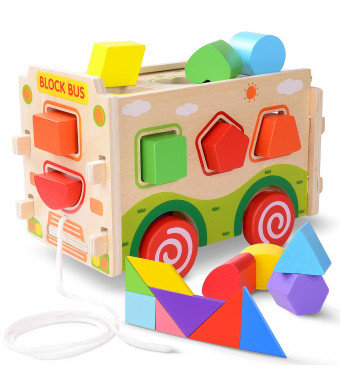 Gamenote Wooden Shape Sorter Bus with Tangram Classic 3D Push Pull Truck Toy for Toddlers and Baby Color Recognition and Geometry Learning, (20 Blocks and Carry Case Included) (Red)