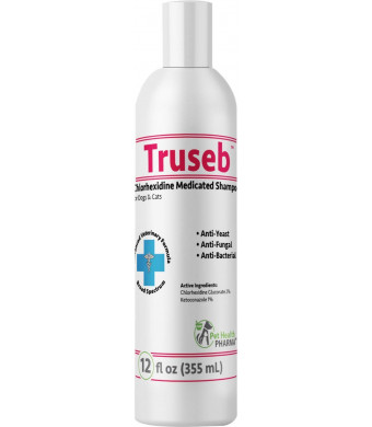 Truseb | #1 Ketoconazole and Chlorhexidine Shampoo for Dogs and Cats - Antifungal, Antibacterial and Antiseptic Medicated Dog Shampoo for Hot Spots, Ringworm, Yeast, Fungal Infections, Acne,Pyoderma