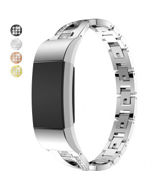 Taolla Compatible with Fitbit Charge 2 Bands Women, Elegant Stainless Steel Metal Replacement Bracelet Wristband X-Link Sport Smart Watch Strap + Bling Crystal Rhinestone Diamond for Fitbit Charge 2