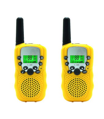 Kids Walkie Talkie Two Ways Radio Toy Walkie Talkie for Kids 3 Miles Range 22 Channels Built in Flash Light FRS GMRS Handheld Mini Walkie Talkie for Outdoor Adventures Camping Hiking Set of 2 (Yellow)