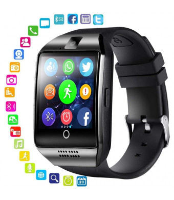 Smart Watch for Android Phones - Bluetooth Watch Cell Phone with Audio and Image and Camera - SIM Card Slot Smartwatch Touchscreen for Men Women (Black)