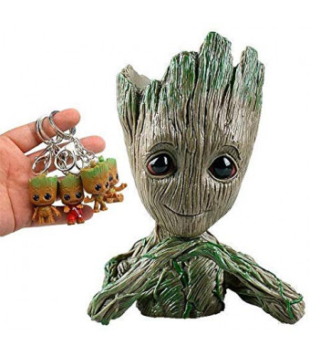 Groot Flowerpot Treeman Action Figures - Guardians of The Galaxy Flowerpot Baby Cute Model Toy Planter Pen Pot (4 Pack Free Original Keychain)