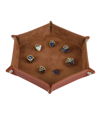 Dice Tray Metel Dice Rolling Tray Holder Storage Box for RPG DND Table Games, Double Sided Folding Thick PU Leather and High-Class Velvet Camel
