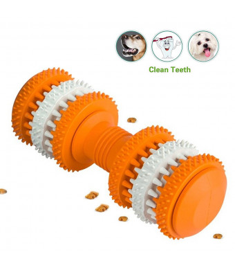 Dog Chew Toys, Soft Natural Health Big Rubber Treat Bones, Teething Chew Puzzle Training Dumbbell Arctic Cooling Freeze Fetch Food Massage Grinding Rubber Chew Toy Bone Teeth Cleaning Treat Tooth Gums