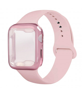 Henstar Compatible with Apple Watch Band 40mm 44mm, Soft Silicone Sport Strap Replacement Band with Apple Watch Screen Protector Protective Case Compatible with iWatch Series 4 (Pink Sand, 40mm M/L)