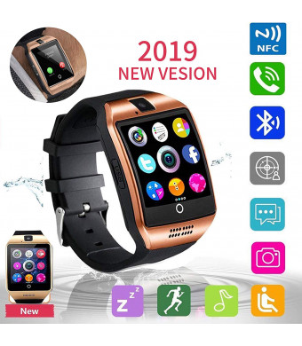 Smart Watch Fitness Tracker, JAVENPROEQT Bluetooth Smart Watch Touchscreen Smartwatch with SIM SD Card Slot Camera Call/Message Reminder Pedometer Music Player Compatible Android iOS (Gold) (Black1)
