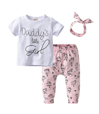 Derouetkia Newborn Baby Girls 3Pcs Outfit Set Letters Daddy Little Girl T-Shirt Tops Cartoon Pants with Headband