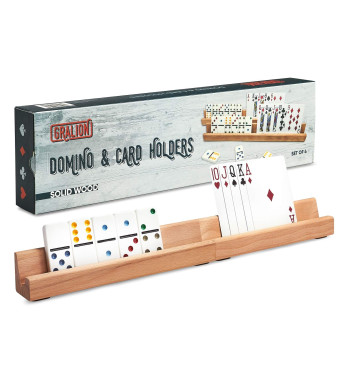 GRALION Domino and Card Holders Set of 4 Wooden Trays for Dominoes and Cards, Deluxe Playing Card Holder, Mexican Train Dominoes Racks, Great Accessories for Playing Variety of Board and Tile Games!