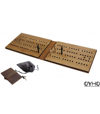 Travel Cribbage Boards Leather Pocket Sized Tiny Card Game Board Scoring Boards with Copper Cribbage Pegs - QYHQ