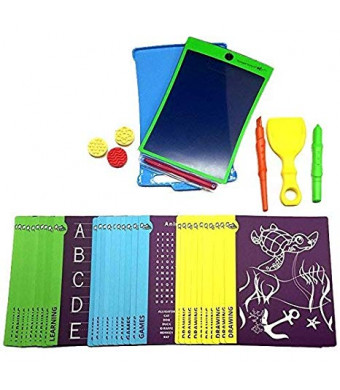 Magic Sketch Deluxe KIT | LCD Writing Board, Drawing, Doodle, Learning Tablet | Includes Protective Cover, 60 Stencils, 4 Styluses, 3 Stamps, and Carrying Case | Kids, School, House, Car Rides (H18H22)