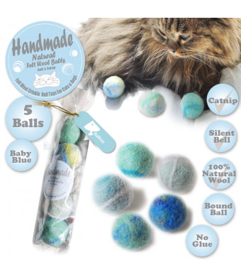 BALLMIE Felt Wool Cat Toys Ball with Catnip and Bell, Natural Handmade cat Toys Ferret Toys cat Gift Basket
