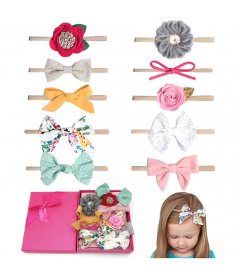 Elesa Miracle Hair Accessories Sweet Baby Girl's Gift Box with Chiffon Lace Hair Bow Flower Headband