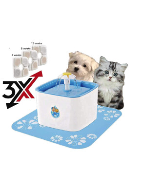 Purrfect World Cat and Dog Water Fountain w 3 Carbon-Ion Exchange Filters : (2.5L) Provides Fresh Filtered Water for Your Pet