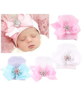Xinshi Newborn Hat Soft Turban Baby Girl Big Bow Knot Cap