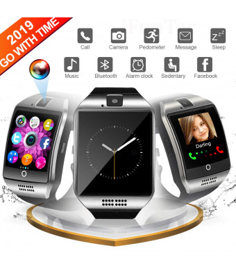 Bluetooth Smart Watch, WATCHOO Touch Screen Sport Wrist Watch Smartwatch Phone Fitness Tracker with Camera Pedometer SIM TF Card Slot for Smartphone Samsung Android for Men Women Kids, Silver