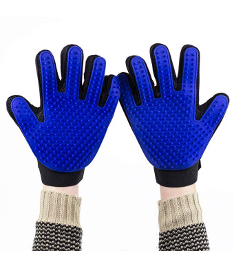 Vertall Pet Grooming Gloves - Deshedding Mitt to Brush and Remove Pet Hair - for Dogs, Cats, Horses with Long and Short Fur - 1 Pair