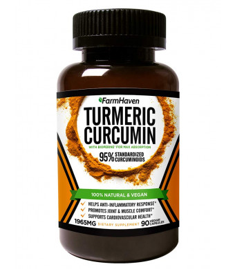 Turmeric Curcumin with BioPerine Black Pepper and 95% Curcuminoids - 1965mg Maximum Absorption for Joint Support and Anti-Inflammation, Organic Non-GMO Turmeric Capsules Made in USA - 90 Veg Caps