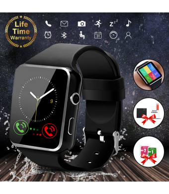 Smart Watch,Bluetooth Smartwatch Touch Screen Wrist Watch with Camera/SIM Card Slot,Waterproof Smart Watch Sports Fitness Tracker Android Phone Watch Compatible with Android Phones Samsung (Black)