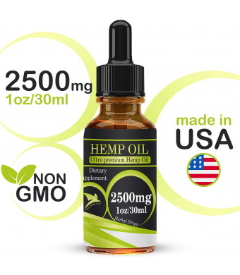 Organic Hemp Seed Oil Drops 2500mg, Full Spectrum, 100% Pure, Natural, CO2 Extracted Herbal Oil, Anti-inflammatory, Help Relieve Pain, Stress and Anxiety
