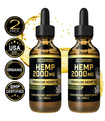 Hemp Oil Drops for Pets - 2 Pack 2000mg - Grown and Made in USA - Supports Hip and Joint Health, Natural Relief for Pain, Separation Anxiety + More! - Zero THC CBD Cannabidoil - Apply Easily to Treats