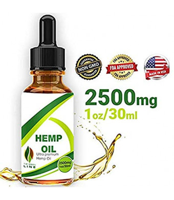Hemp Oil Drops 2500mg, 100% Natural Extract, Supports Anti-Anxiety and Stress Health, All Natural Dietary Supplement, Rich in Omega 3 and 6 Fatty Acids for Skin and Heart Health, Vegan Vegetarian Friendly