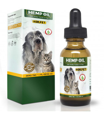 Dr. Pet Dogs and Cats-Full Spectrum Hemp Extract All Natural Pain Relief Calming, Stress and Anxiety Support, Hip and Joint Health Pet Oil 250mg