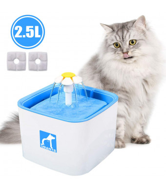 UBANTE Pet Fountain Cat Water Dispenser, Healthy and Hygienic Drinking Fountain 2.5L Large Super Quiet Flower Automatic Electric Water Bowl with 3 Filters for Dogs, Cats, Birds and Small Animals