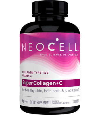 NeoCell Super Collagen with Vitamin C, 120 Collagen Pills, #1 Collagen Tablet Brand, Non-GMO, Grass Fed, Gluten Free, Collagen Peptides Types 1 and 3 for Hair, Skin, Nails and Joints (Packaging May Vary)
