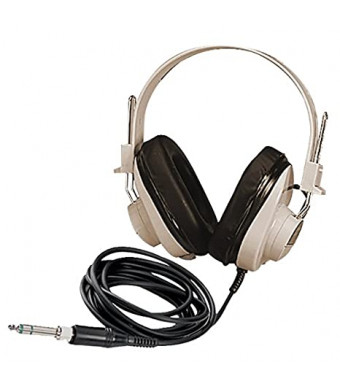 Califone 2924AV Deluxe Mono Headphone, Fully Adjustable Headband, Recessed Wiring For Safety, Replaceable 6' Straight Cord Long Enough To Avoid Accidental Pull Out, White/black
