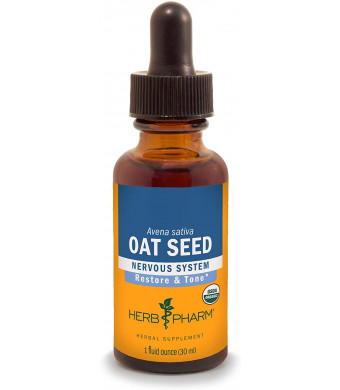 Herb Pharm Certified Organic Oat Seed Liquid Extract for Nervous System Support, Organic Cane Alcohol, 1 Ounce