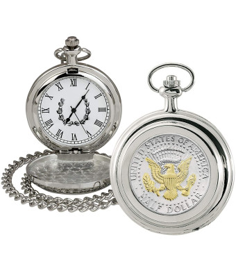 Coin Pocket Watch with Quartz Movement   Presidential Seal JFK Half Dollar   Genuine U.S. Coin   Sweeping Second Hand, Roman Numerals   Silvertone Case   Certificate of Authenticity