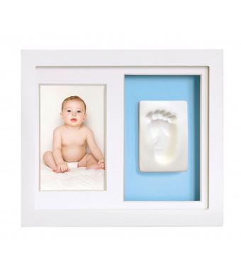 Tiny Ideas Baby's Footprint or Handprints Kit DIY Picture Frame Keepsake, Baby Boy Gift, White