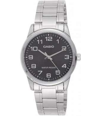 Casio #MTP-V001D-1B Men's Standard Stainless Steel Easy Reader Black Dial Watch
