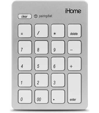 iHome Wireless Bluetooth 3.0 Slim Numeric Keypad for Mac, Wide 20-Keys, Laptops and Desktop Computers, Compact and Portable, Accounting/Coding  Silver