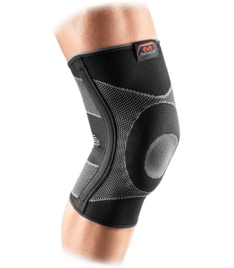 McDavid Elastic Compression Knee Sleeve with Gel Pad. 4-Way Elastic Brace with Strays. For Stability, Recovery, Injury, Walking, Running Pain. Left and Right Leg. Patella Support.