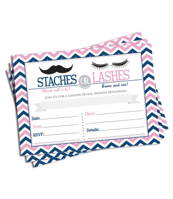 50 Gender Reveal Invitations and Envelopes - Staches or Lashes (Large Size 5x7) - Baby Shower