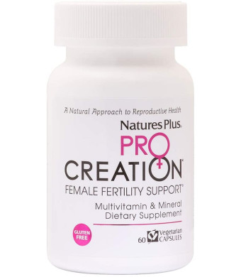 NaturesPlus Procreation Women - 60 Vegetarian Capsules - Natural Female Fertility Support, Multivitamin and Mineral Supplement with Antioxidants, Herbal Blend - Gluten-Free - 30 Servings