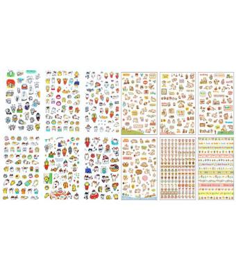 ALIMITOPIA Scrapbook Sticker,12 Sheets Kawaii Cartoon Cat Charactor DIY Transparent Decorative Paster Ornament Mark