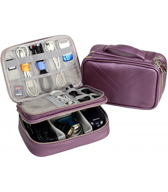 Electronics Organizer Travel Cable Cord Bag Accessories Gadget Gear Storage Cases for 8 Inch Tablet (Purple)