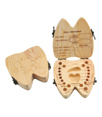 Mogoko Baby Tooth Keepsake Box, Wooden First Tooth and Curl Memory Container, Deciduous Teeth Saver Boxes for Child Kids (English, for boy or Girl)
