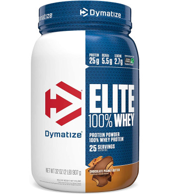 Dymatize Elite 100% Whey Protein Powder, 25g Protein, 5.5g BCAAs and 2.7g L-Leucine, Quick Absorbing and Fast Digesting for Optimal Muscle Recovery, Chocolate Peanut Butter, 2 Pound