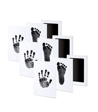 3 Pack Premium No-Mess Ink Baby Footprint and Handprint Ink Pad Safe and Non-Toxic Ink Perfect New Baby (Black)