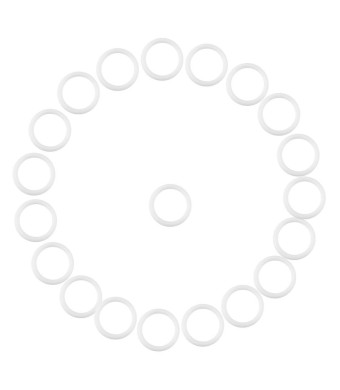 20Pcs Safe Silicone O-Rings Dummy Pacifier Chain Clips Adapter Holder Soft Baby Relief Teether Holder Rings Birthday Baby Shower Gift(White)