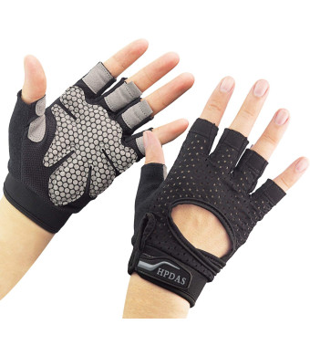 Hopedas Workout Gloves Weight Lifting Gloves Palm Support Protection for Men Women, Exercise Gloves Sports for Training, Fitness, Gym, Black