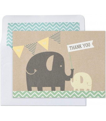 Hallmark Baby Shower Thank You Cards, Elephants (10 Cards with Envelopes)