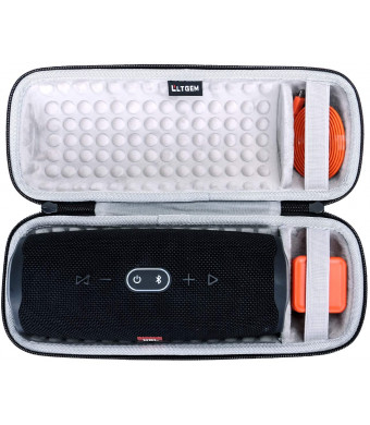 LTGEM Hard Carrying Case for JBL Charge 4 Portable Waterproof Wireless Bluetooth Speaker. Fits USB Cable and Charger.