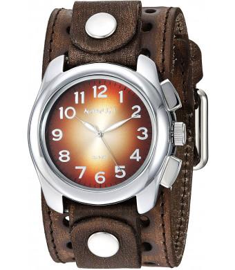 Nemesis Men's Gradient Stainless Steel Analog-Quartz Leather Strap, Brown, 38 Casual Watch (Model: BVSTH091B)
