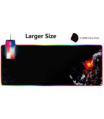 SIGNO 10W Wireless Charger Extended Mouse Pad , Soft LED Gaming Keyboard Mat Wireless Charging Large Mousepad Non Slip Rubber Base 31.5x11.8 inch (DWC-113)